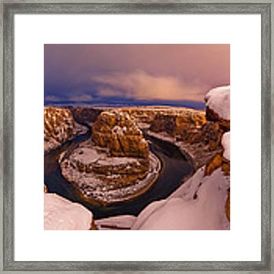 Snow At Horseshoe Bend Framed Print by Dustin  LeFevre