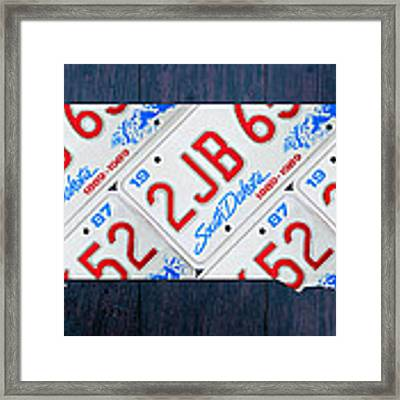South Dakota License Plate Map Art Framed Print by Design Turnpike
