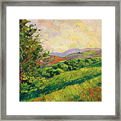 Spring Greens Framed Print by Erin Hanson