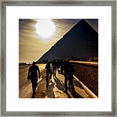 Standing Before The Great Pyramid In Egypt Framed Print by Mark E Tisdale