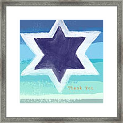 Star Of David In Blue - Thank You Card Framed Print by Linda Woods