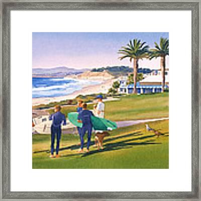 Surfers Gathering At Del Mar Beach Framed Print