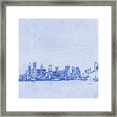 Sydney Skyline Blueprint Framed Print