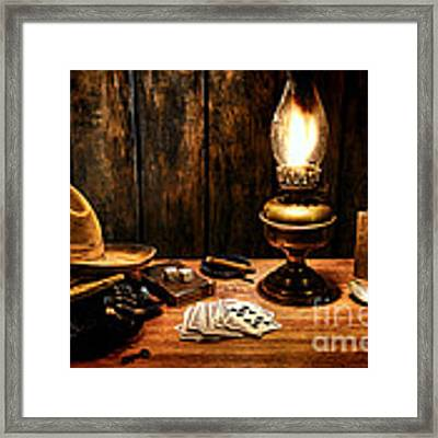 The Cowboy Nightstand Framed Print by Olivier Le Queinec