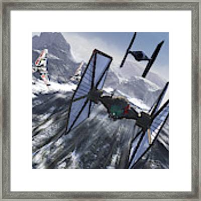 Tie Fighters On Patrol Over An Artic Framed Print by Kurt Miller