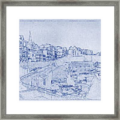 Trenby Bay Blueprint Framed Print