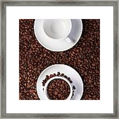 Two Cup With Coffee Beans Framed Print by Raimond Klavins