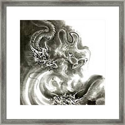 Two Dragons Gold Fantasy Dragon Design Sumi-e Ink Painting Dragon Art Framed Print by Mariusz Szmerdt