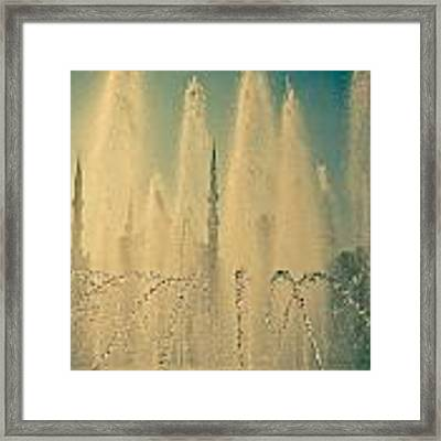 view frou fountain Silhouettes of Blue Mosque Framed Print by Raimond Klavins