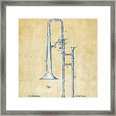 Vintage 1902 Slide Trombone Patent Artwork Framed Print by Nikki Marie Smith