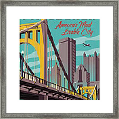 Pittsburgh Poster - Vintage Travel Bridges Framed Print by Jim Zahniser