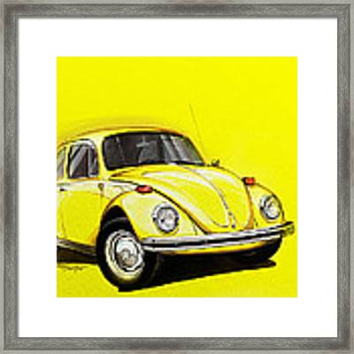 Volkswagen Beetle Vw Yellow Framed Print
