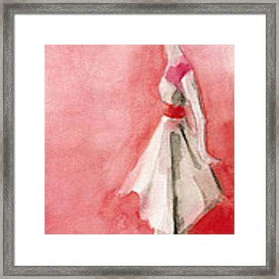 White Dress With Red Belt Fashion Illustration Art Print Framed Print by Beverly Brown