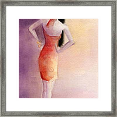 White Hat And Orange Sundress Fashion Illustration Art Print Framed Print by Beverly Brown