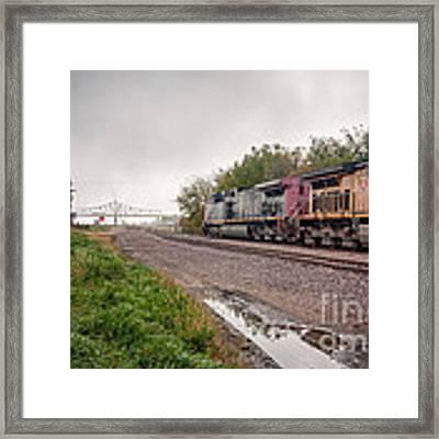 Winona Mn Train Scene Puddle Framed Print by Kari Yearous