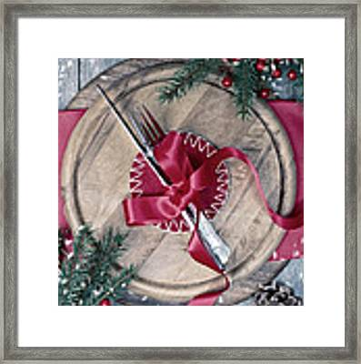 Winter Table Setting Framed Print by Amanda Elwell