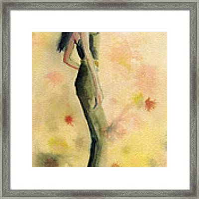 Woman In A Green Jumpsuit Fashion Illustration Art Print Framed Print