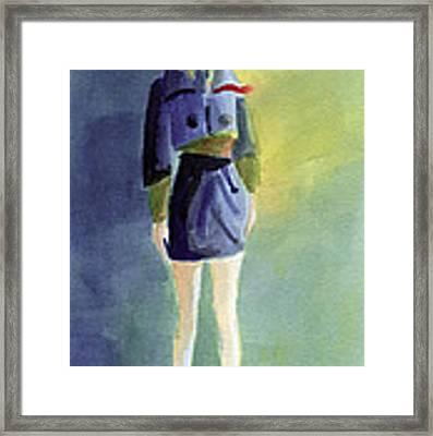 Woman In A Pillbox Hat Fashion Illustration Art Print Framed Print