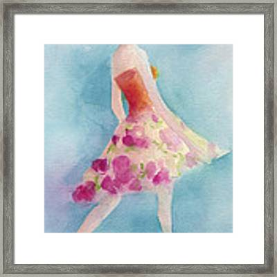 Woman In A Pink Flowered Skirt Fashion Illustration Art Print Framed Print