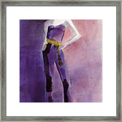 Woman In A Purple Jumpsuit Fashion Illustration Art Print Framed Print