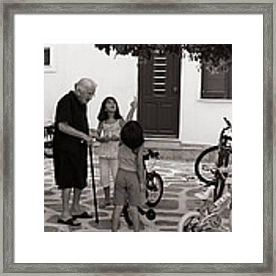 Yaya The Kids And The Cat In A Tree Framed Print by Lorraine Devon Wilke