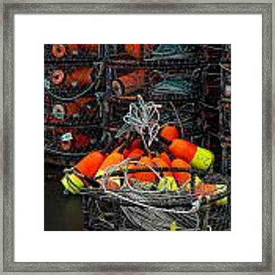 Buoys And Crabpots On The Oregon Coast Framed Print by Carol Leigh