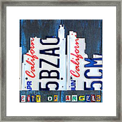 Los Angeles Skyline License Plate Art Framed Print