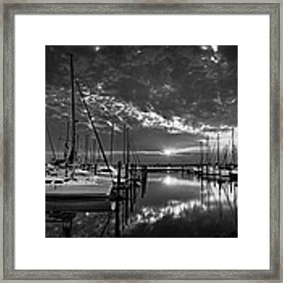 Marina At Fort Monroe Bw Framed Print by Williams-Cairns Photography LLC