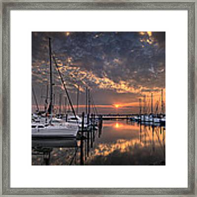 Marina At Fort Monroe Framed Print by Williams-Cairns Photography LLC