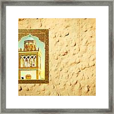 Minaret Through A Window Framed Print