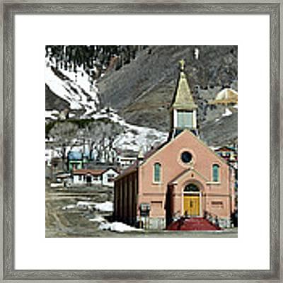 Mountain Chapel With Red Steps Framed Print by Lorraine Devon Wilke