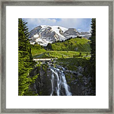 Myrtle Falls And Mount Rainier Mount Framed Print by Tim Fitzharris