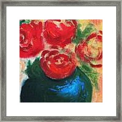 Red Roses In Blue Vase Framed Print by G Linsenmayer