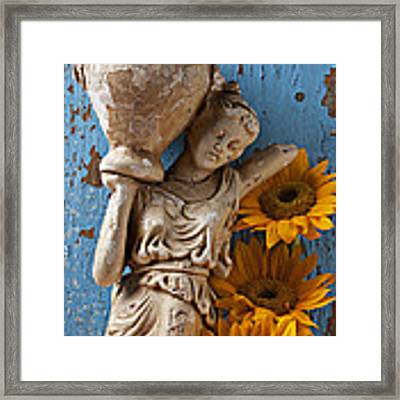 Statue Of Woman With Sunflowers Framed Print by Garry Gay