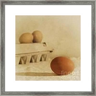 Three Eggs And A Egg Box Framed Print by Priska Wettstein