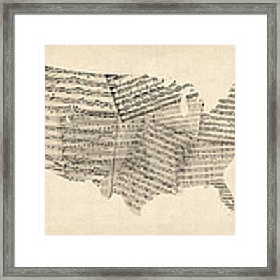 United States Old Sheet Music Map Framed Print