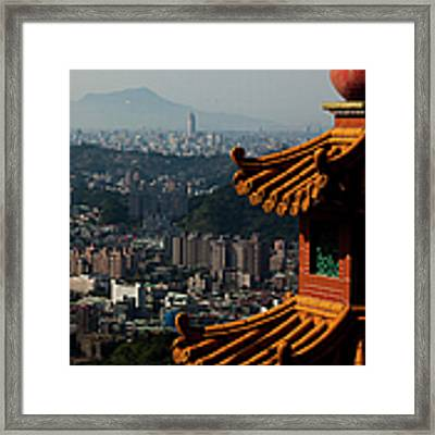 View At Taipei City From Zhangshan Temple Framed Print by Nikolay Titov