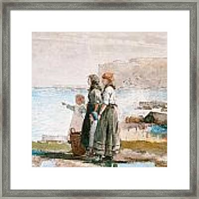 Waiting For The Return Of The Fishing Fleets Framed Print