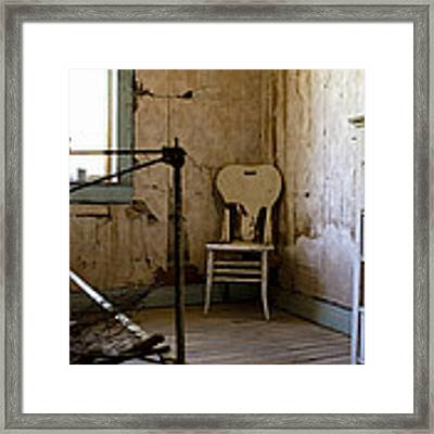 White Chair In The Bedroom Framed Print by Lorraine Devon Wilke