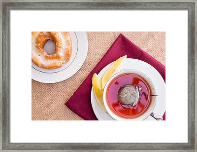 Breakfast With Pastries, And Hot Tea With Lemon #1 Framed Print by Jon Manjeot