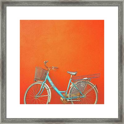 Blue Bike In Burano Italy Framed Print by Anne Hilde Lystad
