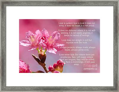 1 Corinthians 13 Love Is Framed Print by Andrea Anderegg