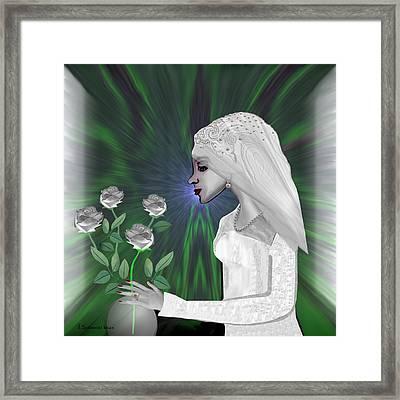 202 - Shy  Bride   Framed Print by Irmgard Schoendorf Welch