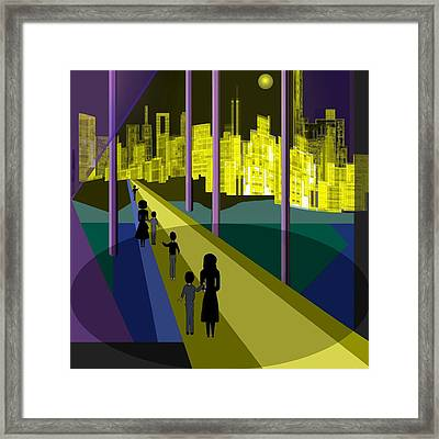 286 - Nightwalking To The Golden City 2 Framed Print by Irmgard Schoendorf Welch