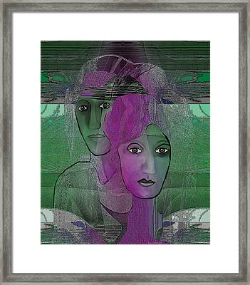 300 - Couple Purple - Green Framed Print by Irmgard Schoendorf Welch