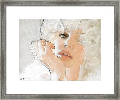 # 38 Charlize Theron Portrait Framed Print by Alan Armstrong