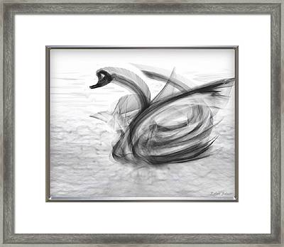 'a Fabric-ated Swan Melody ' Framed Print