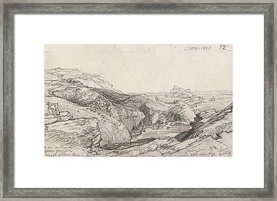 A Page From A Cornish Sketchbook - Cornwall 32  Framed Print by Samuel Palmer