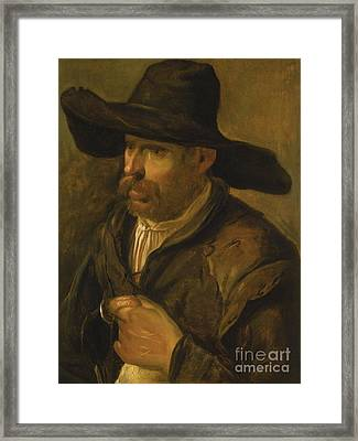 A Peasant Holding A Duck Framed Print by MotionAge Designs