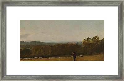 A Shepherd In A Landscape Looking Across Dedham Vale Towards Langham Framed Print